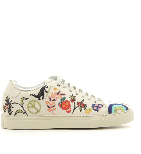 Sneakers en cuir blanc  brodé BASSOEMB - PAUL SMITH MEN