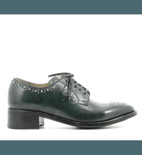 Derbies à clous en cuir vert LYDIE/011VE - Officine Créative