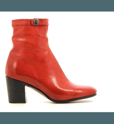 Bottines à talons en cuir rouge URSULA46037R - Alberto Fasciani