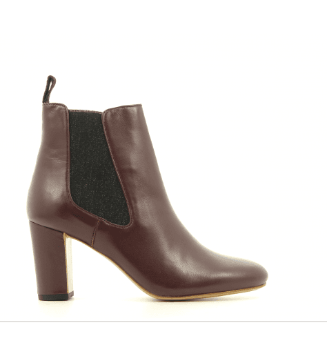 Bottines en cuir bordeaux  GALF N8BOR- Avril Gau