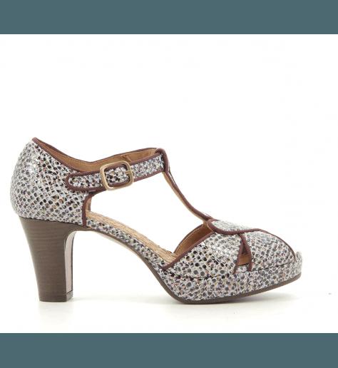 Sandales avec plateformes en cuir estampillé Bordeaux IGIC32 - Chie Mihara