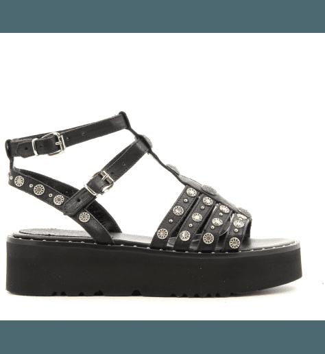 Sandales noires à semelles épaisses avec ornements 4663N fruit now - Garrice Collection