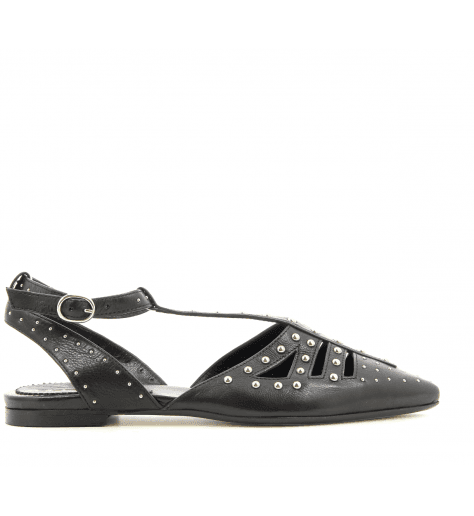 Ballerines pointues cloutées en cuir noir 4606 Fruit now - Garrice collection