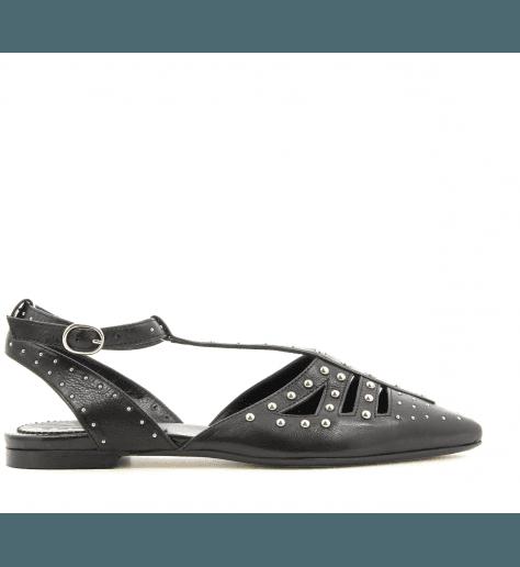 Ballerines pointues cloutées en cuir noir 4606 Fruit now - Garrice collection