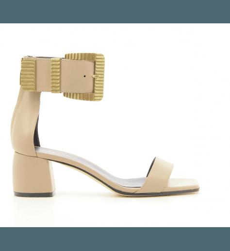 Sandales en cuir nude et petit talon 715 - Greymer