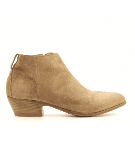 Bottines courtes en veau velour camel 41805 - MOMA