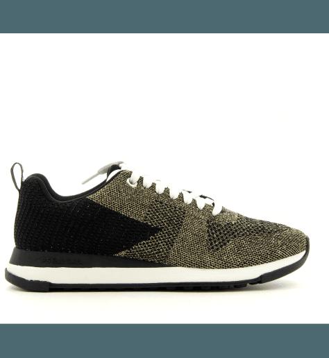Sneakers en textil elastiqué  noir et doré RAPPID GOLD - Paul Smith