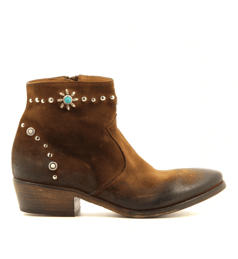 Bottines en suede cognac et incrustations strategia E1463 - Garrice Collection