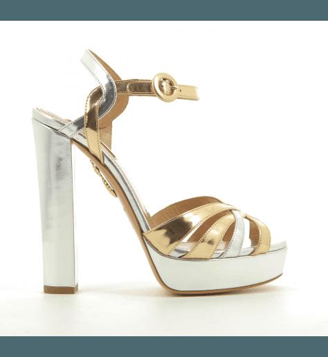 Sandales en vernis argent et doré à talons et patins Aquazzura - LOVE AFFAIR PLATEAU