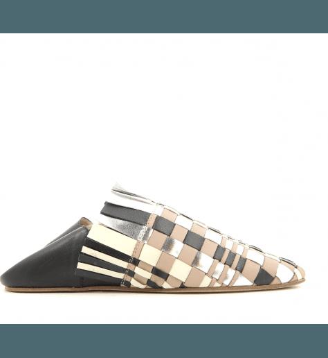 Mules style Babouche doré platine noir 020- Grey Mer