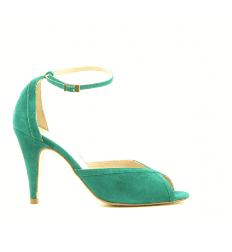 Sandales à talon et bride cheville en veau velours vert Lenora - LISA GREEN