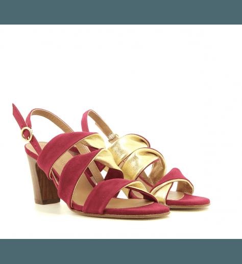 Sandales à talons bordeaux et doré New Lovers - DAFNE