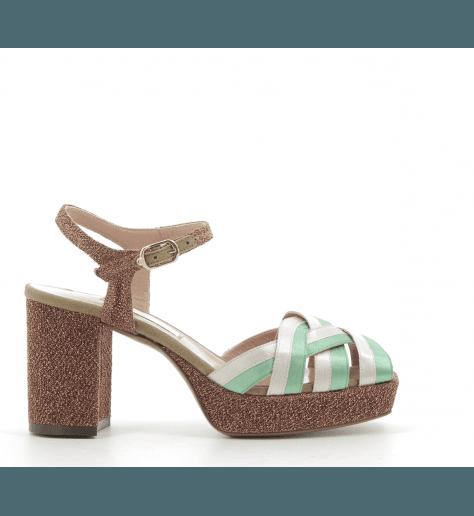 Sandales styles 70's à talon et patin bronze L'autre chose - OSG172B