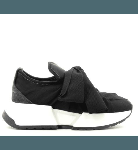 Sneakers en toile noir à semelles épaisses MM6 Martin Margiela -59WS0033N