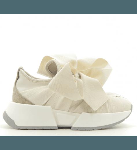 Sneakers en toile blanche à semelles épaisses MM6 Martin Margiela - S59WS0033B