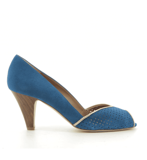 Escarpins à bout ouvert en veau velours bleu New Lovers - KIKI NAVY