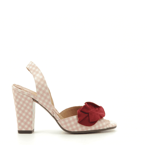 Sandales en cuir façon vichy avec fleur rouge Chie Mihara - BRANAMI