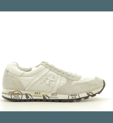 Sneakers plates en toile et cuir blanc gris SKY 3105 - Premiata SKY 3105