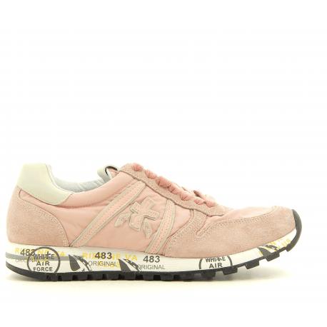 Sneakers plates en toile et cuir rose pâle- Premiata - SKY 3110