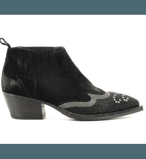 Bottines en veau velours noir 5208- Garrice Collection