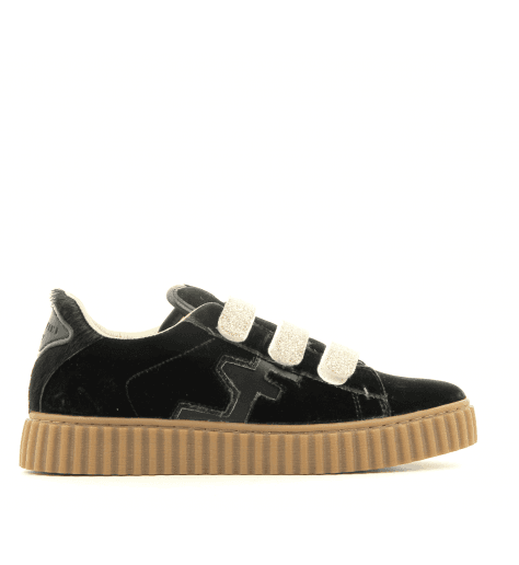 Sneakers en velours vert et scratch dorés MADISON GREEN - Serafini