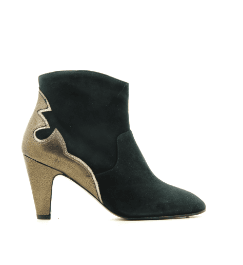 Bottines à talon moyen en veau velours vert VIVIAN - New Lovers shoes