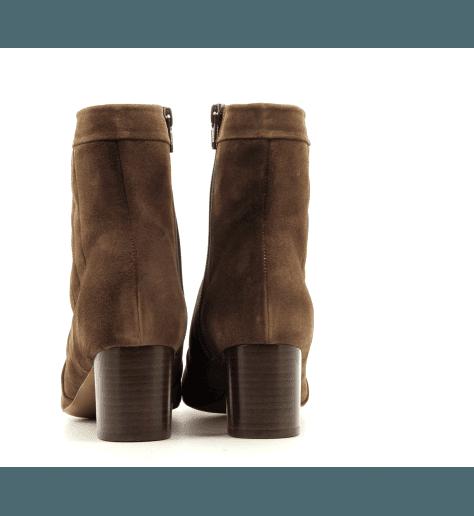 Bottines à talon en veau velours camel DAGMAR2 - New Lovers shoes