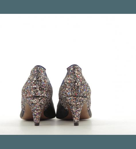 Escarpin à talon en veau velours gris et flamme gliter TACY - New Lovers shoes