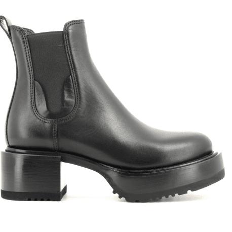 Bottines à talon en cuir noir M5049  - Premiata