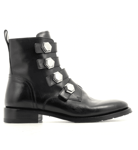 Bottine plates en cuir noir et lanières Henderson shoes - 22D03