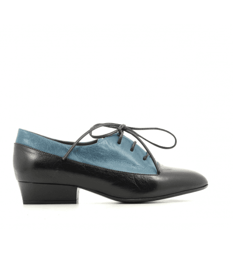 Derbies à petit talon en cuir noir et bleu Marc Jacobs - COLOR BLOCK OXFORD