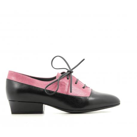 Derbies à petit talon en cuir noir et rose Marc Jacobs - COLOR BLOCK OXFORD