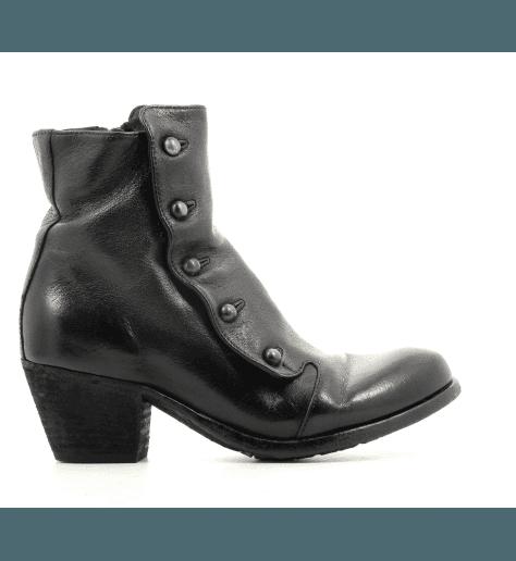 Bottines à talon en cuir noir et boutons Officine Creative  pour femmes - GISELLE043