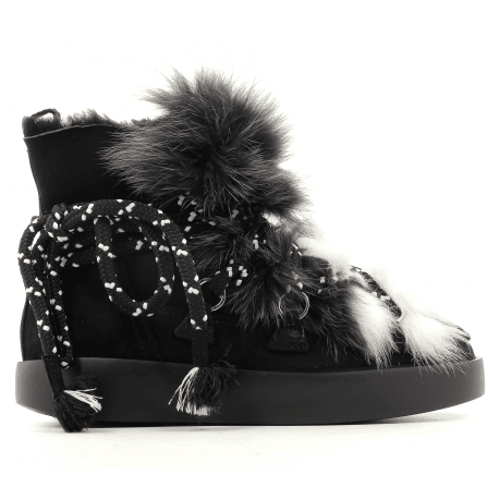 Moon boots en veau velour cotelé noir et lapin 025N MYGREY - Grey Mer