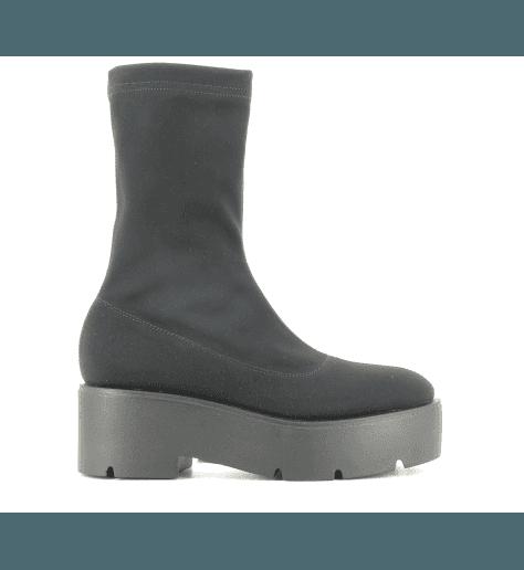 Bottines semelle épaisse et stretch noir strategia jfk P2565 - Garrice Collection