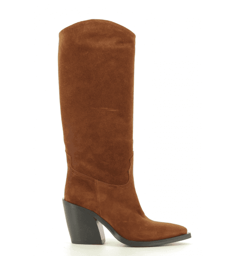 Bottes Santiags en veau velours camel fruit now 4982 - Garrice Collection