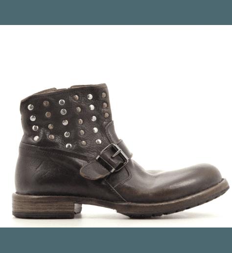 Boots motarde à clous en cuir marron MOMA - 79811M