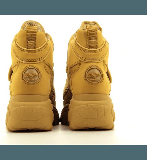 Sneakers montante en cuir camel et semelle épaisse Buffalo London - 1348