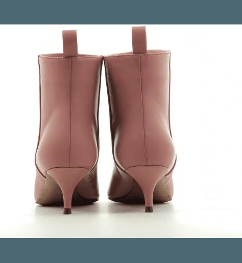 Bottines pointues en cuir rose nude et petit talon aiguille L'autre Chose - LDH004