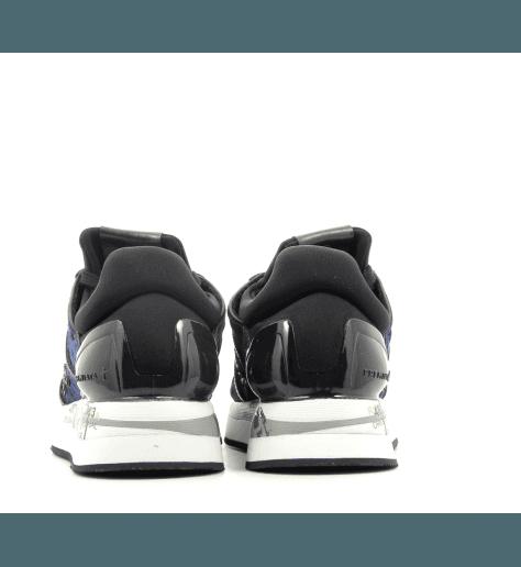 Baskets en velour gaufré bleu marine et noir à semelles épaisses PREMIATA - LIZ 3354M