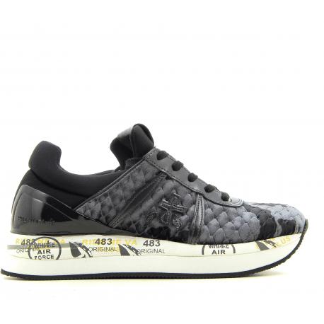 Baskets en velour gaufré gris et noir à semelles épaisses PREMIATA - LIZ 3537G