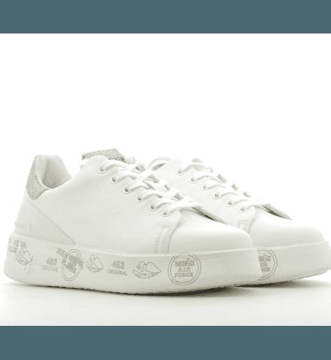 Baskets en cuir blanc et argent à semelles épaisses PREMIATA - BELLE 2669