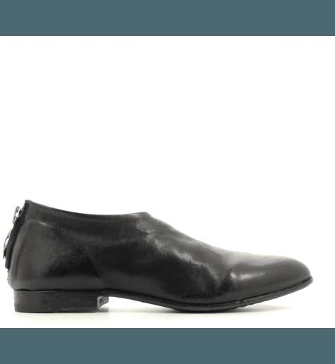 Mocassins / bottines courtes plates en cuir noir MOMA - 76802