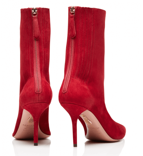 Bottines pointues en suede rouge et talon aiguille Aquazzura - SAINT HONORE