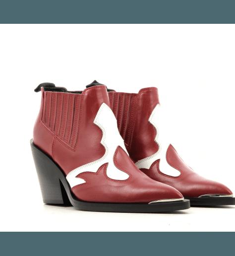 Boots courte style santiag en cuir rouge Garrice Collection - lemare BR308R