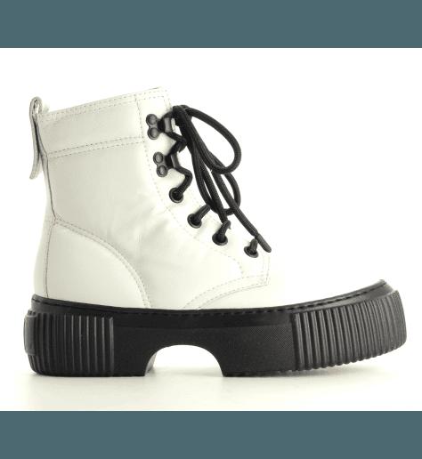 Bottines à semelle épaisse en cuir blanc AGL- D925517