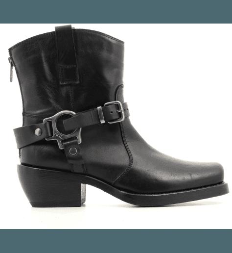 Bottines à talons en cuir noir  D756501 - AGL