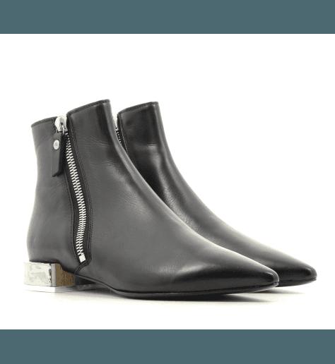 Bottines petit talons  argenté en cuir noir  D749505 - AGL