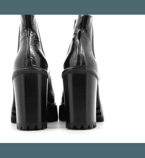 Bottines Semelle épaisse en cuir noir à talon M3712 - PREMIATA