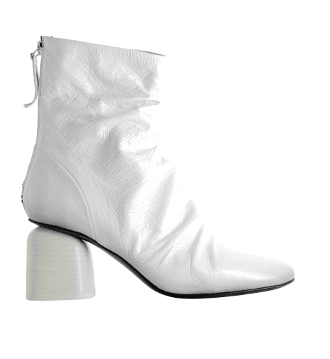 Bottines  en cuir vinyl blanc à talons 60's Halmanera - Musle105